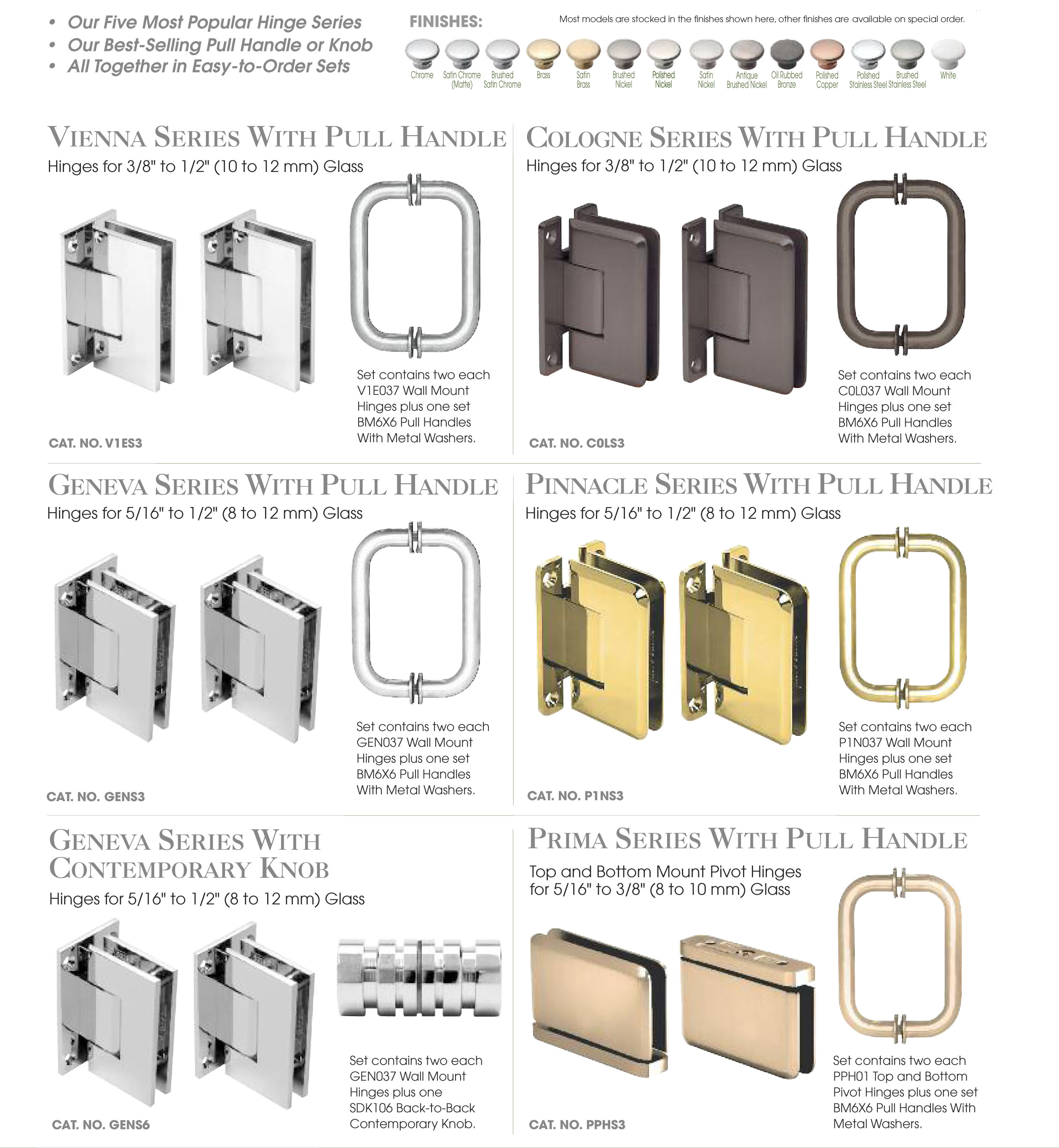 Shower glass door hinges - Frameless Shower Door Hinge And Pull Handle Or Knob Sets